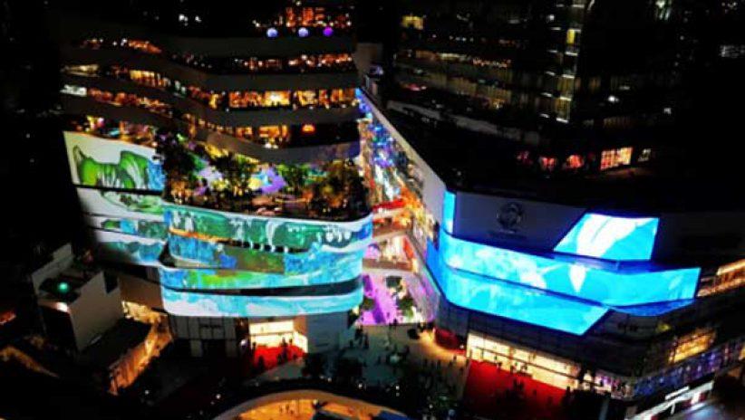 Светодиодный медиафасад на торговом центре Emporium District в Бангкоке (видео)